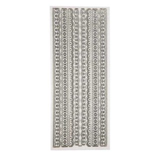 Sticker Ziersticker, Glitter Stickers, 10x24 cm plader, sølv, grænser, påvirket i stor detalje.