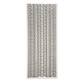 Sticker Ziersticker,Glitter-Sticker, Blatt 10x24 cm, silber, Bordüren, sehr detailliert geprägt.