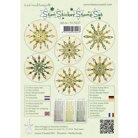 Sticker Estrelas adesivos set verde selo, um selo transparente, três adesivos Estrelas, papel selo 4xA5, seis modelos e instruções
