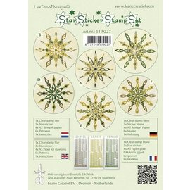 Sticker Ster stickers groene stempel set, 1 transparante stempel, 3 Star Stickers, 4xA5 stempel papier, 6 sjablonen en instructies