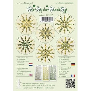 Sticker Stjerne klistermærker grønne stempel sæt, 1 transparent stempel, 3-stjernede Klistermærker, 4xA5 stempel papir, 6 skabeloner og instruktioner