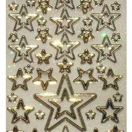 Sticker Glitter adhesivo decorativo 10 x 23cm, estrellas, de diferente tamaño.