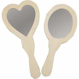 Objekten zum Dekorieren / objects for decorating Espelho de Mão classificado, 23-24 cm, madeira, 2