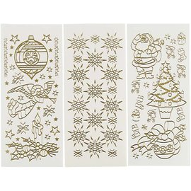 Sticker Hobby Stickers, sheet 10x23 cm, gold, Christmas, 20 different sheets