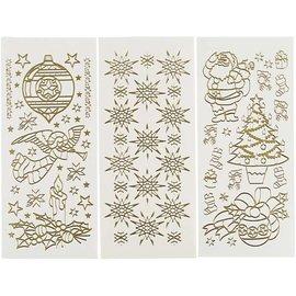 Sticker Loisirs autocollants, feuille 10x23 cm, or, Noël, 20 feuilles différentes