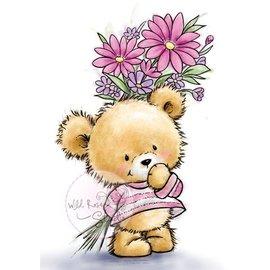 Wild Rose Studio`s selos transparentes, A7: Urso com flores
