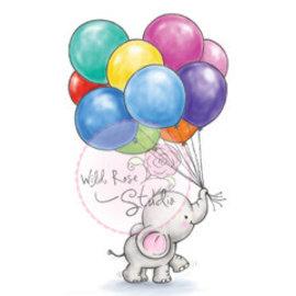 Wild Rose Studio`s selos transparentes, A7: bebê bonito Olifant com balões