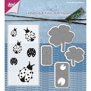 Joy!Crafts / Jeanine´s Art, Hobby Solutions Dies /  Stempling stencil + stempel SET: mariehøne & Shamrocks
