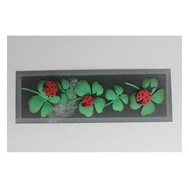 Joy!Crafts / Jeanine´s Art, Hobby Solutions Dies /  Stampaggio stencil + timbro SET: coccinella e quadrifogli