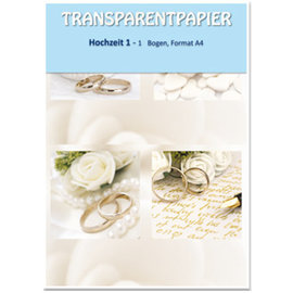 DESIGNER BLÖCKE / DESIGNER PAPER 1 sheet transparent papers, printed, wedding