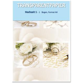DESIGNER BLÖCKE / DESIGNER PAPER 1 Bogen Transparentpapiere, bedruckt, Hochzeit
