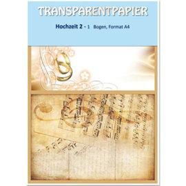 DESIGNER BLÖCKE / DESIGNER PAPER 1 hoja de papeles transparentes, impresas, de boda