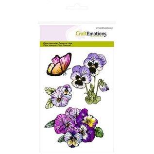 Crealies und CraftEmotions Transparent Stempel: A6, Veilchen, Sweet Violets