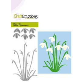 Crealies und CraftEmotions Punching template: snowdrops