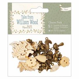 Embellishments / Verzierungen Paquete de encanto, 32 partes, Historias de madera Willson