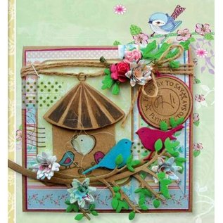 Marianne Design Stamping and Embossing stencil + stamp, aviary: birds