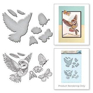 Spellbinders und Rayher Stansning og stempling stencil + frimærkemotiver: ugle og insekter - kun 1 på lager