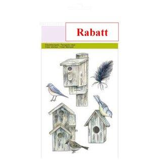 Crealies und CraftEmotions Timbres clairs, A6 - maisons d'oiseaux botanique été