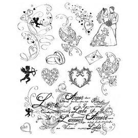 My paperworld (Viva Decor) Gennemsigtige frimærker, tema: kærlighed, bryllup