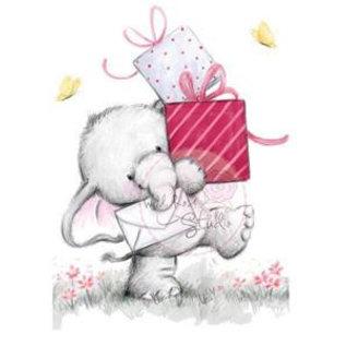 Wild Rose Studio`s Transparent Stempel, A7: Elefant mit Geschenke
