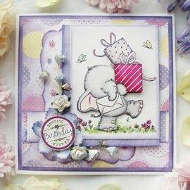 Wild Rose Studio`s selos transparentes, A7: Elefante com presentes