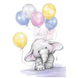 Wild Rose Studio`s Gennemsigtige frimærker, A7: Elefant med balloner