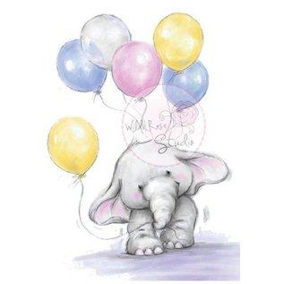 Wild Rose Studio`s Transparent Stempel, A7: Elefant mit Ballonen
