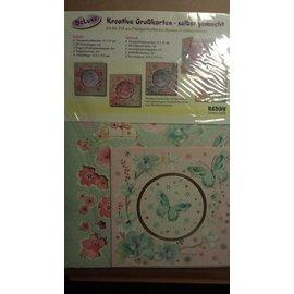 BASTELSETS / CRAFT KITS Bastelpackung: Passepartoutkarten mit Blumen & Schmetterlingskarten