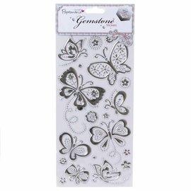 Embellishments / Verzierungen Gem Sticker, Sommerfugle - Sølv