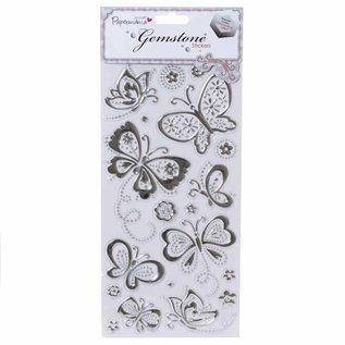 Embellishments / Verzierungen Schmuckstein Sticker - Schmetterlinge - Silber