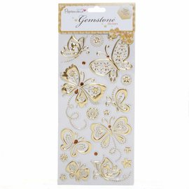 Embellishments / Verzierungen Gem Stickers, butterflies, gold