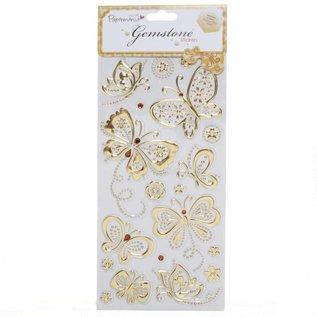 Embellishments / Verzierungen Gem Stickers, papillons, l'or