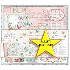 BASTELSETS / CRAFT KITS SÆRTILBUD! Scrapbooking MAXI SET, over 700 dekorationer / dekorationsgenstande !! Butterfly Dreams