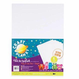 DESIGNER BLÖCKE / DESIGNER PAPER 8 Bogen, A4 Karton, Weiss