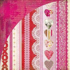 Designer Papier Scrapbooking: 30,5 x 30,5 cm Papier Kissing Booth, Xoxo, Kis-3566, 30,5 x 30,5cm