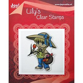 "Clear stamps, ""Lily with a basket of tulips"""