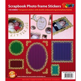 Sticker Scrapbook, embossed stickers, decorative frame