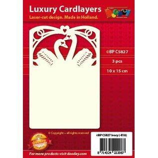 KARTEN und Zubehör / Cards 3 Luxury Karten Layout A6 , 10,5 x 14,85 cm, Hochzeit - Schwanen Motiv