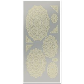 Sticker Stickers, doilies, fans, gold leaf, silver mirror, size 10x23cm - Copy