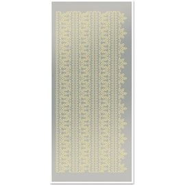 Sticker Adesivi, bordi superiori 1, grande,, specchio d'argento in foglia d'oro, formato 10x23cm.