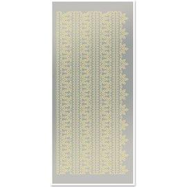 Sticker Stickers, bovenranden 1, grote, bladgoud, zilveren spiegel, afmeting 10x23cm.