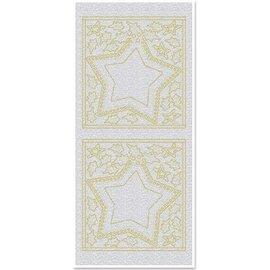 Sticker Autocollants, grandes fenêtres Star, perles, or, argent perle, taille 10x23cm
