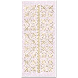 Sticker Glitter Stickers blomster ornamenter 1, guld-glitter hvid, format 10x23cm