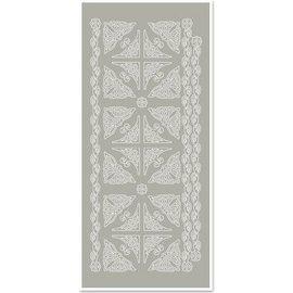 Sticker Stickers, hoeken en randen, zilver-grijs, maat 10x23cm