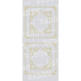 Sticker Autocollants, mère de trame, carré w., Or-argent-pearl, taille 10x23cm