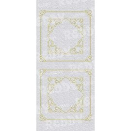 Sticker Stickers, moeder-of-frame, vierkant w., Goud-zilver-parel, formaat 10x23cm