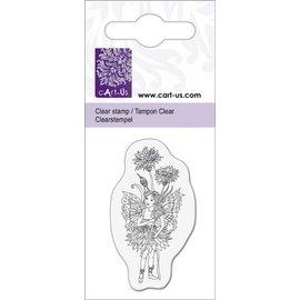 Cart-Us Limpar selos motivo, pequeno elfo com Centáurea, 5x6cm.