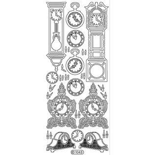 Sticker Ziersticker, Uhr, gold, 10x23cm