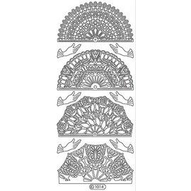 Sticker Ziersticker, fan blanc, contour, 10x23cm