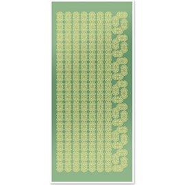 Sticker Sticker, Spitzenbordüren und Ecken, gold-Spiegelfolie grün, Format 10x23cm